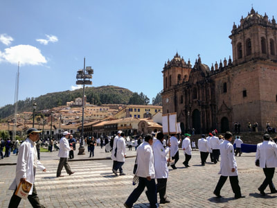 Image: protest by public healthcare workers union in Cuzco, Peru; photo by Eric Mosinger