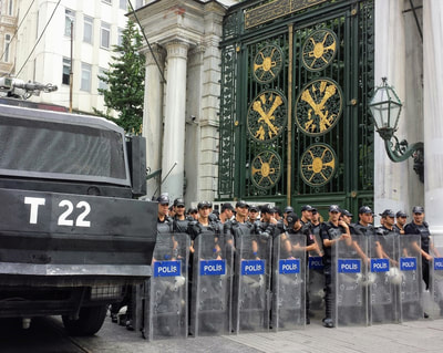 Image: riot police in Istanbul, Turkey; photo by Eric Mosinger